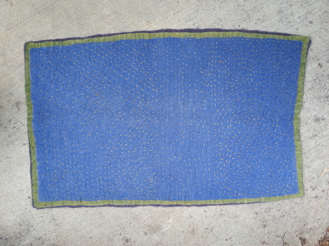 Handstitched Felt Rug - blue side