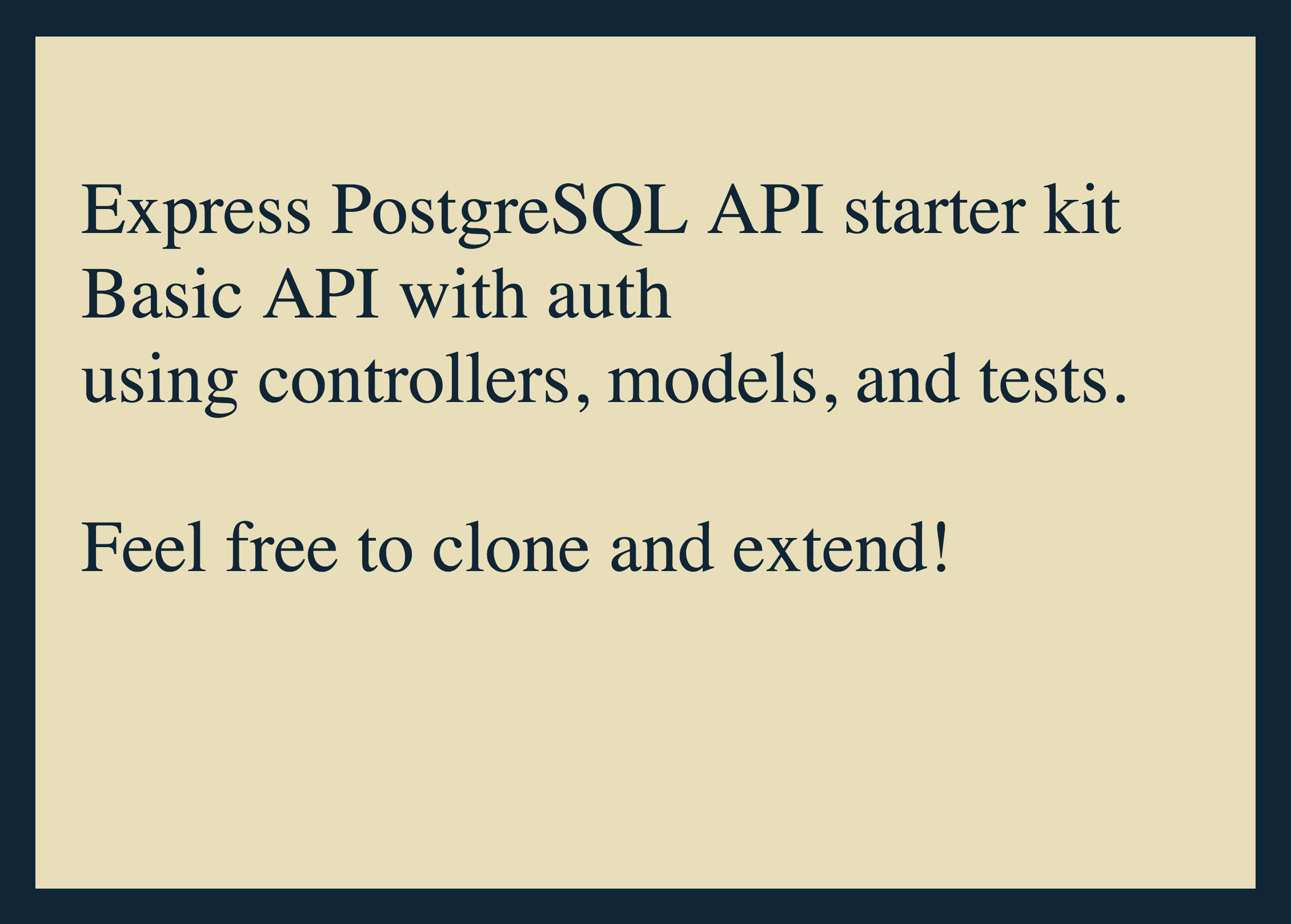 Basic Express / PostgreSQL API