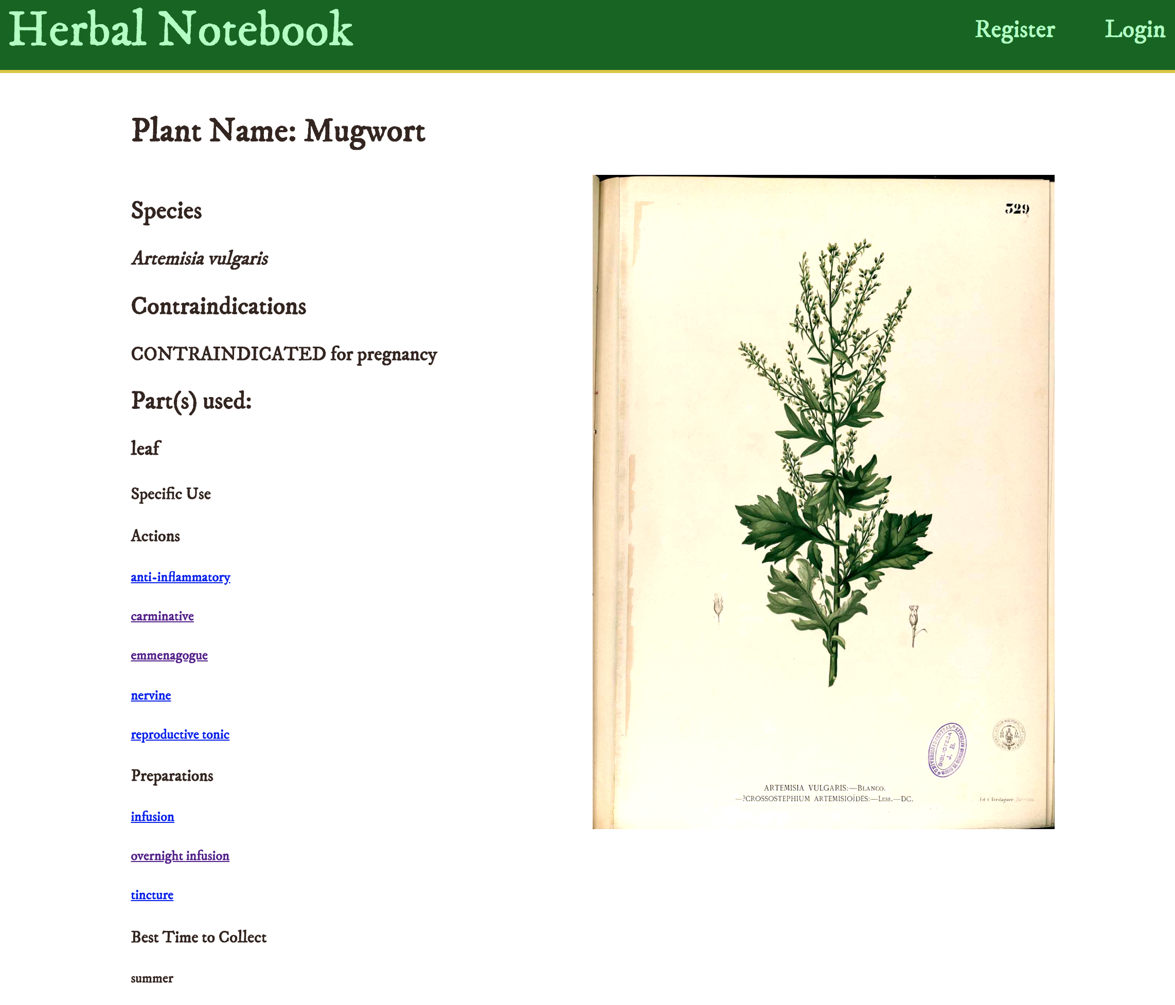 Herbal Notebook - find out properties of herbs