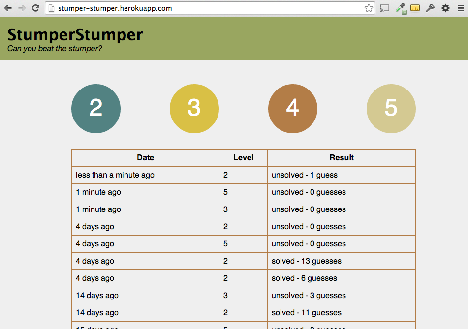 StumperStumper - A game based on an old Texas Instruments toy